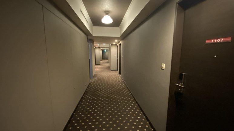 廊下は水玉のカーペット